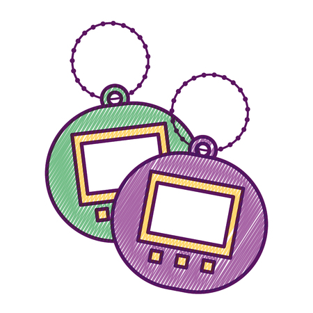 Two toy electric tamagotchi device pocket vector illustration