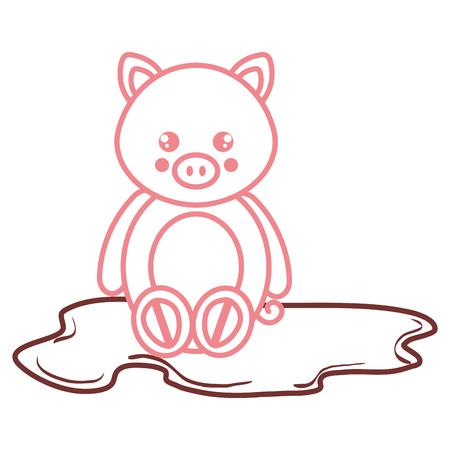 schattig en zacht varken in het ontwerp van de het karakter vectorillustratie van het moeras Stock Illustratie