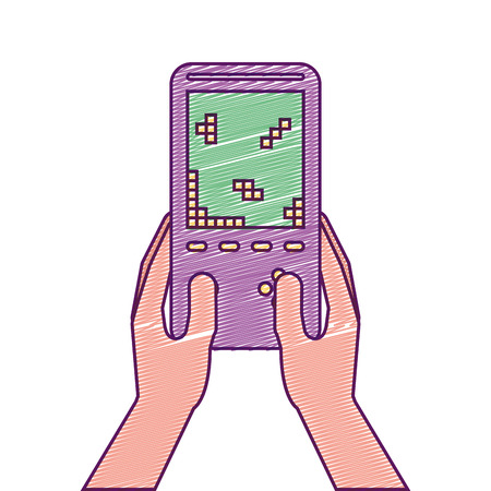 Hand holding video game device retro vector illustration