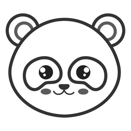 Leuk en teder vector de illustratieontwerp van het beerpanda hoofdkarakter