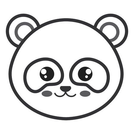 Cute and tender bear panda head character vector illustration design Illustration