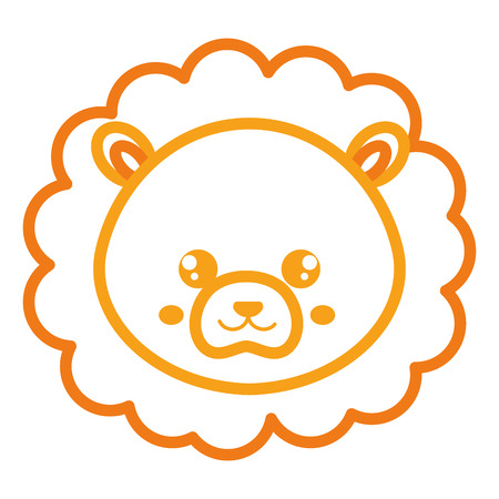 Cute and tender lion head character vector illustration design Иллюстрация