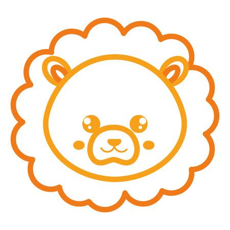 Leuk en teder vector de illustratieontwerp van het leeuw hoofdkarakter Stock Illustratie