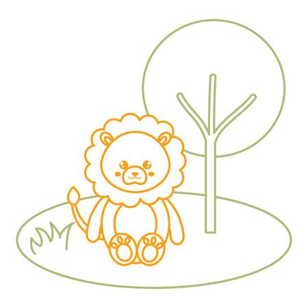 Leuke en tedere leeuw in het vector de illustratieontwerp van het wilderniskarakter