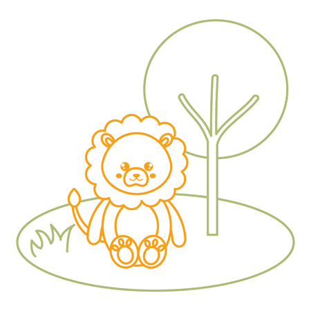 Cute and tender lion in the jungle character vector illustration design Illustration