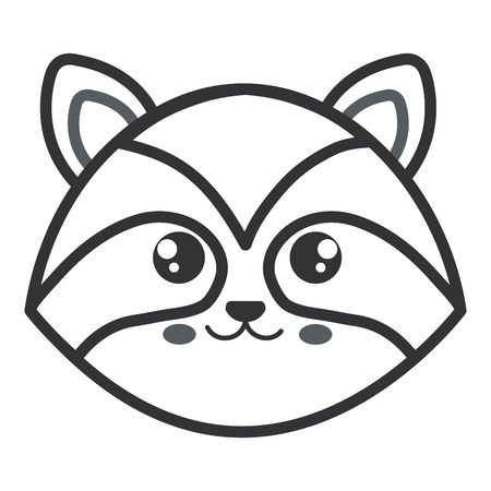 cute and tender raccoon head character vector illustration design