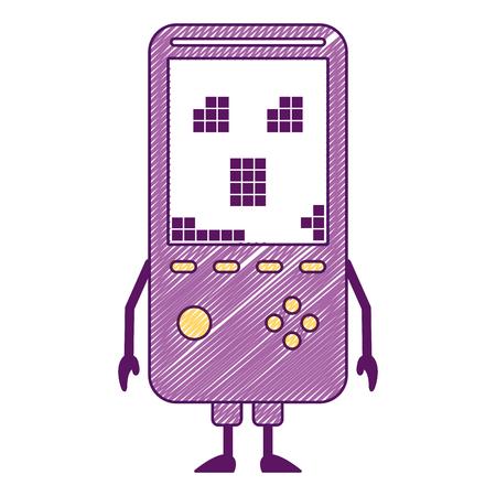 携帯用ビデオゲームコンソール可愛いキャラクターベクトルイラスト