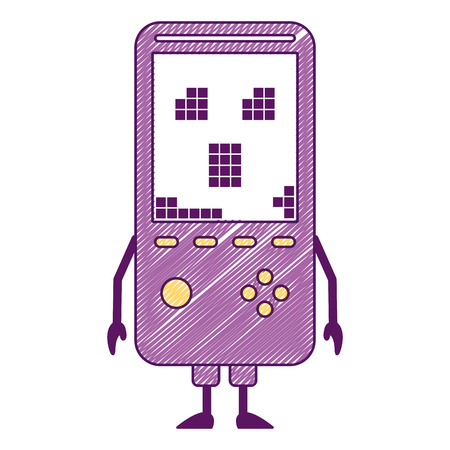 Portable video game console kawaii character vector illustration Ilustração