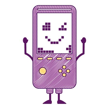 휴대용 비디오 게임 콘솔 문자 벡터 일러스트 레이션