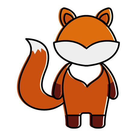 cute and tender fox character vector illustration design