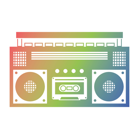Retro stereo cassette player music recorder vector illustration