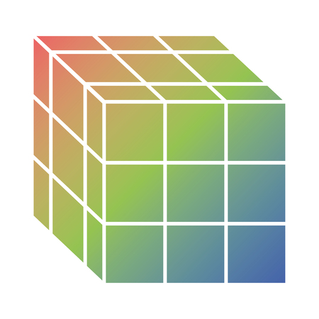 Cube toy puzzle vintage icon vector illustration Çizim