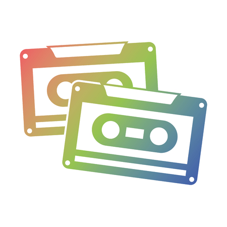 Cassettes recorder tape music vintage vector illustration