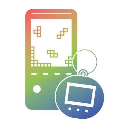 portable video game console and tamagotchi toy vector illustration