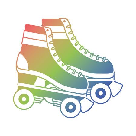 레트로 롤러 스케이트 바퀴 유행 빈티지 벡터 일러스트 레이션