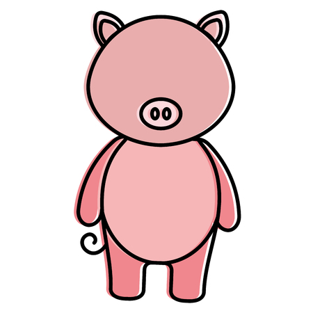 cute and tender pig character vector illustration design