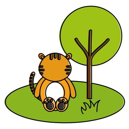 Tigre bonito e terno na selva personagem ilustração vetorial design Foto de archivo - 94420276