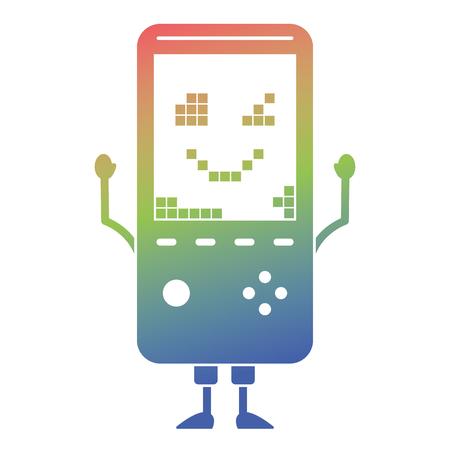 휴대용 비디오 게임 콘솔 카와이 문자 벡터 일러스트 레이션