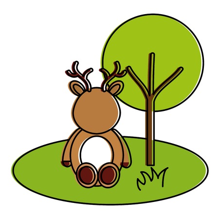 cute and tender reindeer in the jungle character vector illustration design