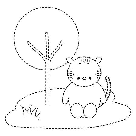 Tigre bonito e terno na selva personagem ilustração vetorial design Foto de archivo - 94432456