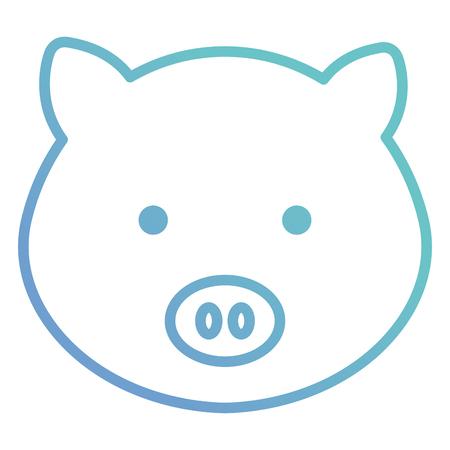 귀엽고 부드러운 돼지 머리 문자 벡터 일러스트 디자인