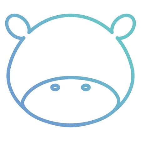 Leuk en teder vector de illustratieontwerp van het nijlpaard hoofdkarakter