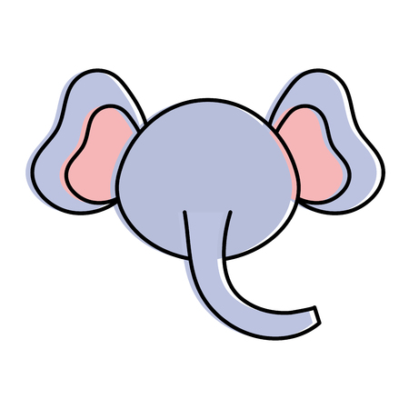 Cute and tender elephant head character vector illustration design