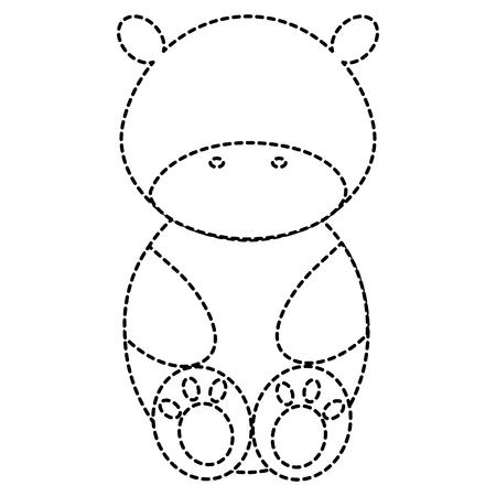 Leuk en teder vector de illustratieontwerp van het nijlpaardkarakter