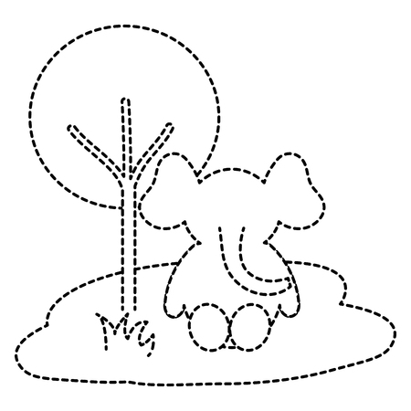 Leuke en tedere olifant in het vector de illustratieontwerp van het wilderniskarakter