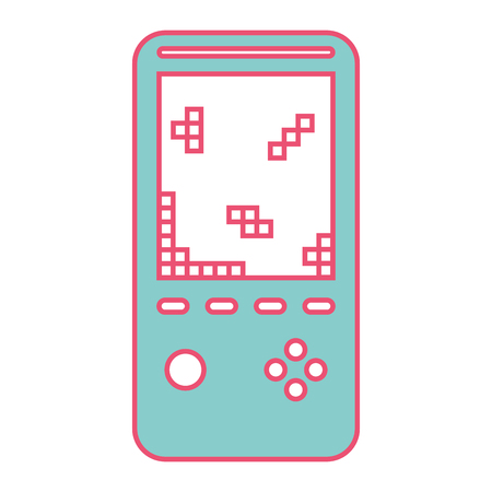 retro portable video game console device vector illustration green and red line image
