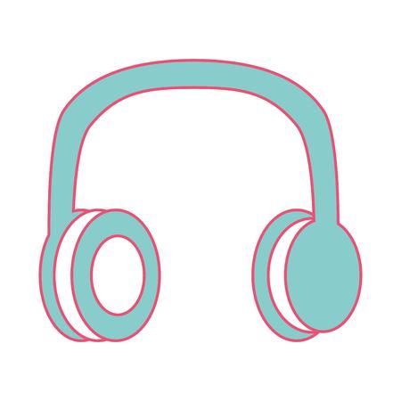 오래 된 빈티지 스테레오 헤드폰 음악 벡터 일러스트 레이 션 녹색 및 빨강 선 이미지
