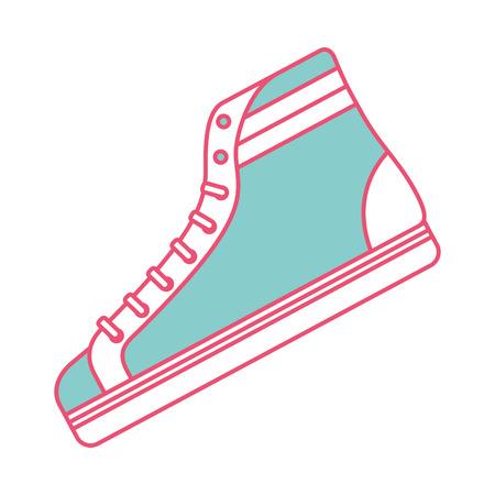 Klassische Sneaker Stiefel Vintage Sport Vektor Illustration grün und rot Linie Bild Standard-Bild - 94533759