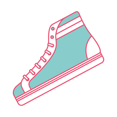 classic sneaker boot vintage sport vector illustration green and red line image Illustration