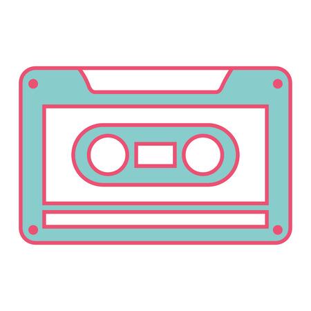 古いレトロなオーディオテープレコードリスニングベクトル照明緑と赤の線画像  イラスト・ベクター素材