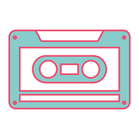 old retro audio tape record listen vector illustation green and red line image