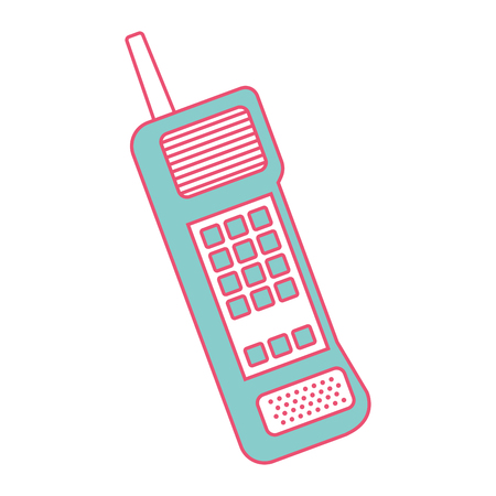 old mobile phone vintage communication icon vector illustration green and red line image Illustration