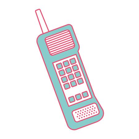 Viejo teléfono móvil vintage comunicación icono vector ilustración verde y línea roja imagen Foto de archivo - 94534177