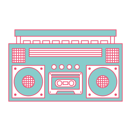 retro stereo cassette player music recorder vector illustration green and red line image Иллюстрация
