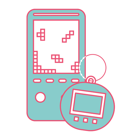 portable video game console and tamagotchi toy vector illustration green and red line image Illustration