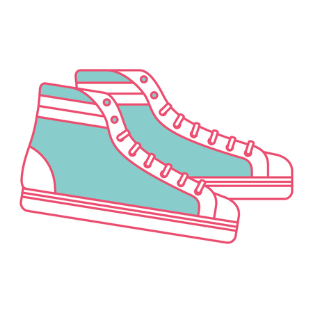 vintage classic sneakers laced fashion retro vector illustration green and red line image