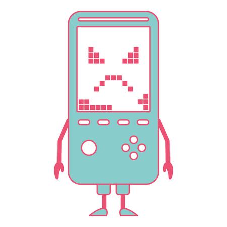 Tamagotchi jogo com pixel animal pet simulador vector ilustração verde e vermelho linha imagem