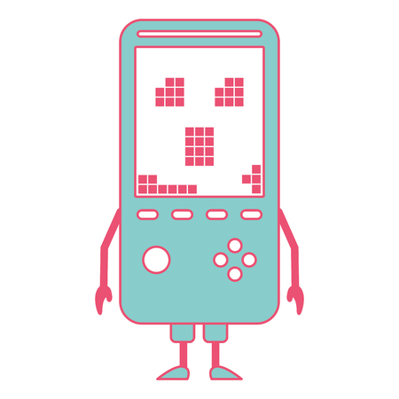 Tamagotchi game with pixel animal pet simulator vector illustration green and red line image