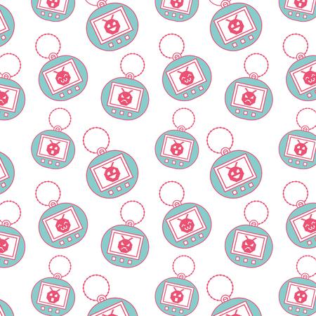 Seamless pattern toy vintage tamagotchi vector illustration Illustration