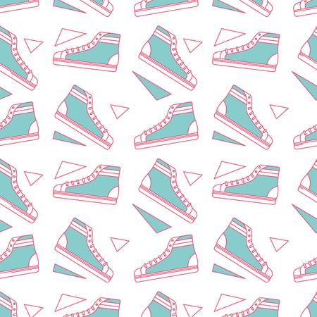 Seamless pattern classic sneakers retro fashion vector illustration