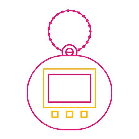 Toy for children electronic pet tamagotchi retro vector illustration color line image Illusztráció