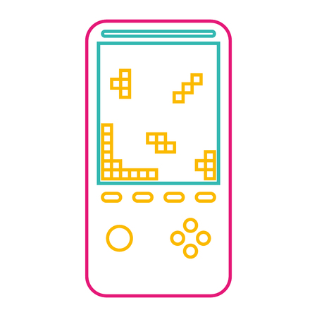 Retro portable video game console device vector illustration color line image