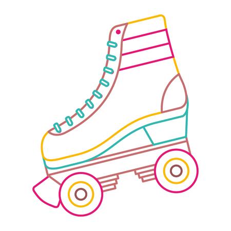 Linea immagine di colore dell'illustrazione di vettore di modo delle ruote allacciate pattino classico del rullo retro. Vettoriali