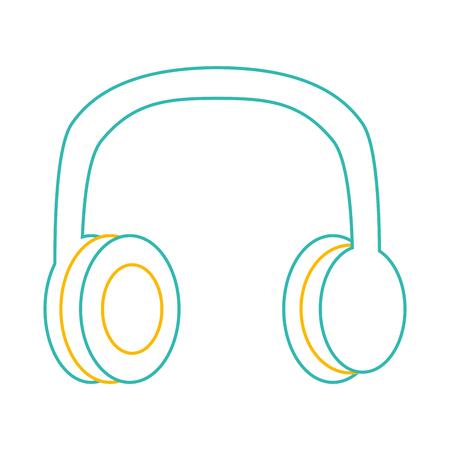 Antiga imagem de linha de cor de música de vetor de fones de ouvido estéreo vintage Foto de archivo - 94429790