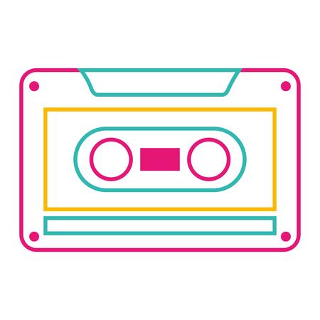 古いレトロなオーディオテープレコードは、ベクトルイラストカラーライン画像を聞きます。