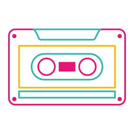 Old retro audio tape record listen vector illustration color line image.